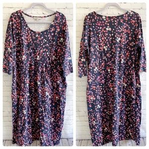 Woman Within floral print knit shift dress 14/16
